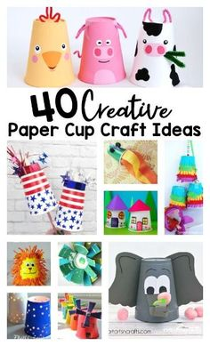 40 Creative Paper Cup Craft Ideas to Try Today - tons of super cute and clever cup crafts for toddler, preschool, kindergarten and first grade kids. These are great recycled materials crafts Arts And Crafts For Adults, Easy Arts And Crafts, Easy Crafts For Kids, Arts And Crafts Projects, Arts And Crafts Supplies, Toddler Crafts, Art For Kids, Diy Crafts, Toddler Preschool