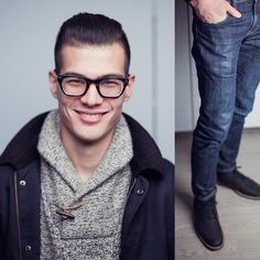 Trend Clothing Corduroy Collar Jacket, H&M Shawl Collar, Levi's® 511, Cole Haan Wingtip Boots, Warby Parker Neville