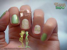 Tiana y el sapo Disney Green nails Water decals