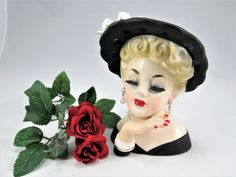 "Vintage INARCO 5"" Lady Head Vase, E-190/S with Black Hat, White Ribbon all trimmed in Gold Paint.  Pretty red lips and finger nails! by VintageQualityFinds on Etsy"