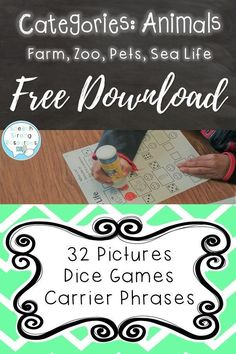 I love using this open ended speech therapy dice game to address categories. This one uses dot paints and has pictured vocabulary for farm and zoo animals, sea life, and pets. A free no prep printable for speech that's great for small and large groups! Articulation Activities, Preschool Learning Activities, Speech Therapy Activities, Language Activities, Speech Language Therapy, Speech And Language, Speech Pathology, Animals Sea, English Teaching Resources