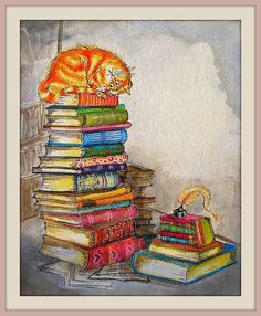 fat orange tabby cat atop a colorful book stack, cartoon from: slightly foxed but still desirable: ronald searle's wicked world of book collecting