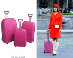 Rachel's luggage can only be purchased online as part of a three piece set; she's toting the smallest of the series. Heys USA Athena TSA 3 Piece Set - $311.99 Worn with: Vintage hat, Ryan Ryan necklace, H&M dress, H&M bag, Marc by Marc Jacobs...