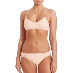 L*Space Bernie Bikini Top (62.595 CLP) ❤ liked on Polyvore featuring swimwear, bikinis, bikini tops, apparel & accessories, racerback swimsuit top, scoop neck bikini, cut out bikini, racerback swim top and racer back bikini