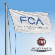 FCA Fiat Chrysler flag and logo