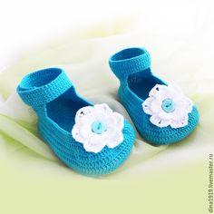Купить пинетки для девочки, пинетки вязаные бирюзовые - пинетки для девочки, пинетки туфельки, туфельки для девочки