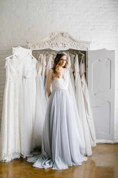 Blue weding dress 'Olivia' / Wedding dress with light blue skirt, long sleeves wedding dress, boneless weding dress