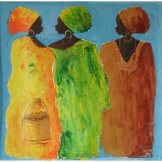 NOVICA Original African Painting (1,195 CAD) ❤ liked on Polyvore featuring home, home decor, wall art, expressionist paintings, paintings, novica paintings, novica home decor, woman painting, african paintings and novica