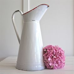 vintage french enamel pitcher white jug bayside vintage online
