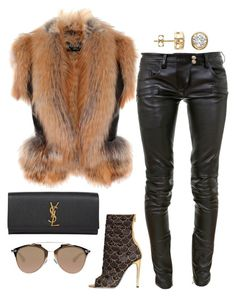 """Fur ready"" by fashionkill21 ❤ liked on Polyvore featuring Balmain, Yves Saint Laurent and Christian Dior"