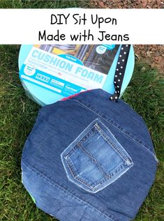 Your kiddos will absolutely love to have their handmade sit upon for their next adventure in the world. Not to mention, this sewing project is a great way to use fabric scraps and upcycle an old pair of jeans. The fabric top is fun and the denim bottom is sturdy for anywhere it might be used.  #diy #situpon #girlscouts #recycledcraft #upcycle #reuse #denimcrafts #jeans Recycled Denim, Recycled Crafts, Diy Craft Projects, Sewing Projects, Reuse, Upcycle, Girl Scout Camping, Denim Crafts, Fabric Squares