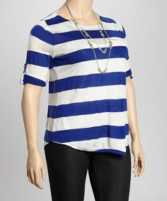 Take a look at this Royal Blue & Ivory Stripe Tab Sleeve Top - Plus by Zenana on #zulily today!