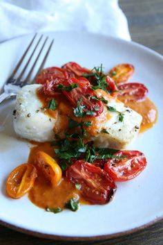 Roasted Cod With Tomato Cream Sauce: The perfect light and bright weeknight meal.