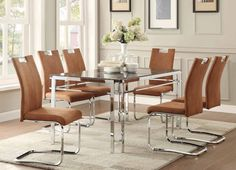 Watt Collection Chrome Base faux marble Top Dining Table 5178-60 NEW LOW PRICE!!