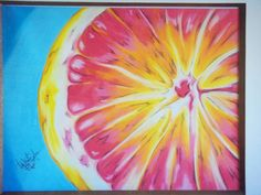 oil pastel grapefruit #oilpastel #grapefruit #art