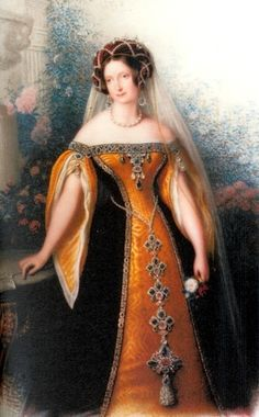 Russian court dress. Grand Duchess Anna Pavlovna (1795 – 1865), granddaughter of Catherine the Great, daughter of Paul I, sister of Alexander I. Queen consort of Netherlands. #history #Romanov