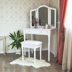 Biely toaletný stolík  Diana de Poitiers s trojitým zrkadlom a taburetkou