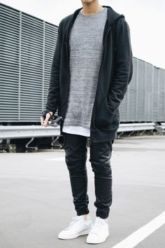 Black hoodie + long gray tee + black skinny denim + white sneakers