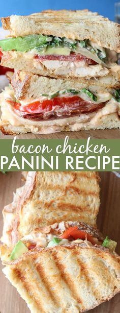 Delicious Chicken Avocado Bacon Panini Recipe with chicken meat, avocado slices, bacon, cheese, and a homemade chipotle sauce. #valentinascorner #panini #paninirecipe #paninisandwich #sandwich #chicken #avocado #lunchrecipe #recipe #simple