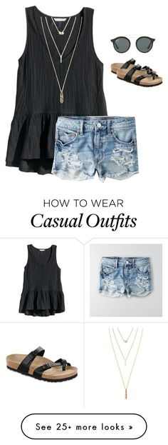 """Casual & Cute"" by gracerose1130 on Polyvore featuring H&M, American Eagle Outfitters, Jules Smith, Birkenstock, Ray-Ban, RayBans and birkenstocks https://twitter.com/cgmsingsjmin/status/903143810196058113"