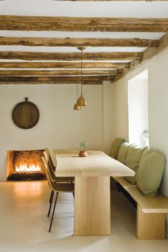 Folens replaced the wood-burning fireplace with a convenient gas one.
