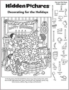 Christmas Worksheets, Christmas Activities, Christmas Printables, Activities For Kids, Bullying Activities, Christmas Games, Educational Activities, Highlights Hidden Pictures, Hidden Pictures Printables