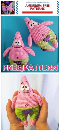 We share the most beautiful patterns of Amigurumi with you. In this article, amigurumi patrick star free pattern is waiting for you. Animal Knitting Patterns, Stuffed Animal Patterns, Crochet Toys, Free Crochet, Crochet Animals, Crochet Crafts, Doll Amigurumi Free Pattern, Crochet Dinosaur, Beautiful Crochet