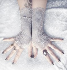 Kynthia Lace Fingerless Gloves - Pale Silver Dove Grey Floral Embroidered - Gothic Vampire Regency Tribal Goth Austen Fetish Bridesmaid. $38.00, via Etsy.