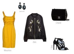 chic bomber look by ireneconcello on Polyvore featuring Moschino Cheap & Chic, Zara, Chanel and Swarovski