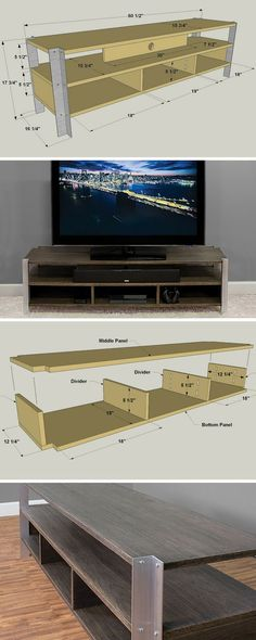 Sections and details diy tv stand Bar Furniture, Furniture Design, Woodworking Plans, Woodworking Projects, Woodworking Classes, Woodworking Videos, Custom Woodworking, Youtube Woodworking, Woodworking Store