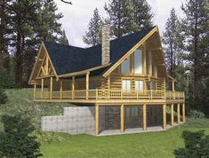 Log House Plan with 2263 Square Feet and 3 Bedrooms - loft, 2 upper balconies, mud room, range island, unfinished basement w bath