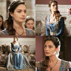 Fahriye Sultan's blue dress w/ cream lace
