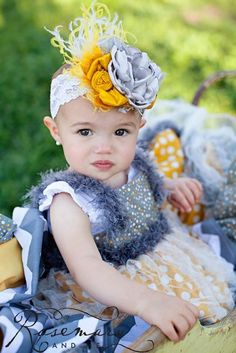 Cobblestones & Daisies Yellow and Gray Headband by London Raquel Made to Match Persnickety Fall 2012. $28.99, via Etsy.