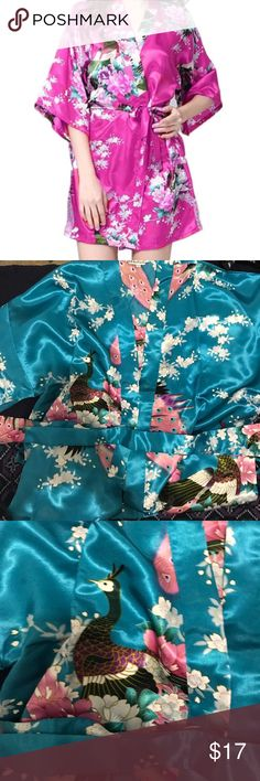 Brand New Chinese Silk Robe Kimono I have this in size small and love it. Color is turquoise blue.  Seller said it was a silk robe but may be some mixed material, I can't tell the difference, looks and feels like silk.  Very pretty and sexy number, perfect for year round. Comes with matching belt. Brand new, no sales tag. Excluded from 7 for $20 sale Intimates & Sleepwear Robes