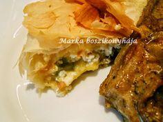 Marka boszikonyhája: Báránygerinc, juhtúrós puliszkával és zöldspárgával töltött rétessel Spanakopita, Lasagna, Ethnic Recipes, Food, Lasagne, Hoods, Meals