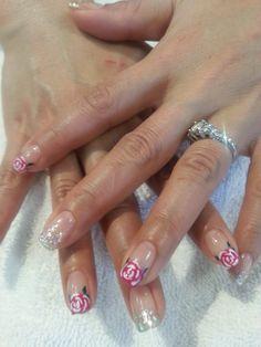 Rose nail art by gel polish at Brilliant Nails & Spa in Laguna woods. #rosenail, #nail, #nailart, #naildesign, #gelnail, #beautiful, #like