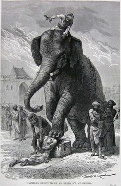 Criminal executed by an elephant, Baroda. Louis Rousselet, 1878.