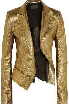 Haider Ackermann Metallic leather blazer | NET-A-PORTER | Very interesting tailoring