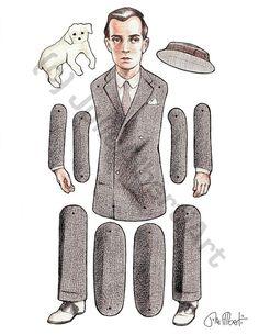 Paper Doll Buster Keaton Articulated Art Doll by JulieAlbertiArt