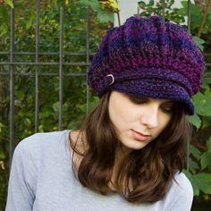 Spring Monarch Ribbed Crochet Newsboy Hat Grape Jelly Purple