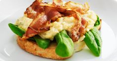 Scrambled eggs and bacon on toast. Boo-yeah.
