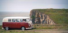 Red VW camper