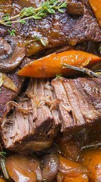 Easy Dutch Oven Pot Roast with Rich Wine-Porcini Sauce - Cook & Grill - Homestyle Pot Roast Roast Beef Recipes, Meat Recipes, Crockpot Recipes, Cooking Recipes, Beef Pot Roast, Game Recipes, Recipe For Pot Roast, Boneless Chuck Roast Recipes, Slow Cooker Pot Roast