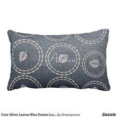 Cute Silver Leaves Blue Denim Look Pillow Playroom Decor, Rooms Home Decor, Nursery Decor, Colorful Pillows, Decorative Throw Pillows, Grey Pillows, Gifts For Teens, Cool Kids, Blue Denim