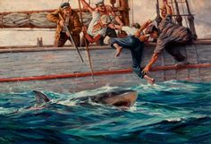 "mudwerks: "" (via Fantasy Ink: Maritime Paintings by Anton Otto Fischer) Shark Hunting, "" Anton Otto Fischer, famous for his paintings of the sea and ships, studied under Howard Pyle in. Howard Pyle, Shark Bait, Good Old Times, Pulp Art, Geek Culture, Art Auction, Anton, Oil On Canvas, Hunting"