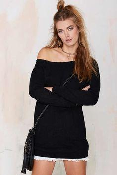 Lioness Sonya Off-the-Shoulder Knit Dress - Black
