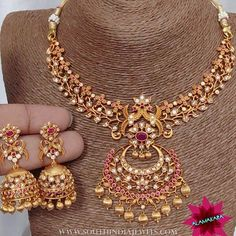 "South India Jewels ""Imitation necklace and jhumka from . For inquiries please contact the seller below. Indian Wedding Jewelry, Indian Jewelry, Bridal Jewelry, Gold Jewelry, Gold Necklaces, Simple Jewelry, Bridal Necklace, Clay Jewelry, Gold Earrings"