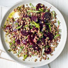 Mustardy Beetroot & Lentil Salad Recipe Salads with puy lentils, whole grain mustard, extra-virgin olive oil, cooked beetroot, tarragon