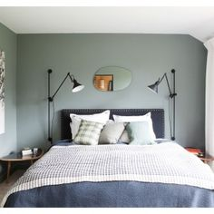 A french country house with city style sage green bedroom, barn renovation, Home Bedroom, Master Bedroom, Bedroom Decor, Bedroom Ideas, Peaceful Bedroom, Light Bedroom, Bedroom Furniture, Modern Bedroom Design, Contemporary Bedroom
