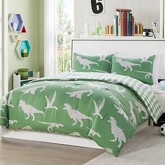 Transform your little one& bedroom into a prehistoric adventure with the LaLa + Bash Saurs Dinosaurs Reversible Comforter Set. Decked out in a fun dinosaur print, this comforter set is a cool addition your room. Bash, Kids Sheets, Green Bedding, Luxury Bedding Sets, Queen, One Bedroom, Comforter Sets, Master Suite, Dorm
